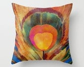 Throw Pillow Cover - The Peacock's Feather - 16x16, 18x18, 20x20 - Pillow Case Original Design Home Décor by Adidit
