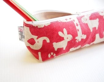 Zippered Pencil Case / Pouch - Raspberry Pink Zoo Animals