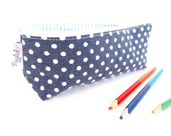 Zippered Pencil Case / Pouch - Navy Blue and White Polka Dots
