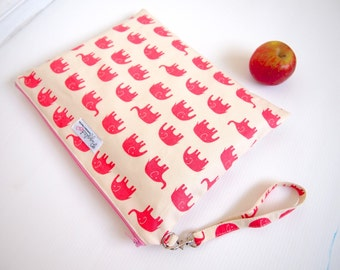 Choose Your Color: Ex-Large Zippered Wet Bag / Nappy Wallet / Diaper Case with a Wristlet -  Elephants