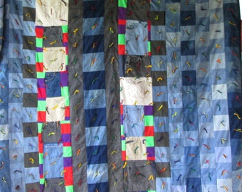 Vintage STRIP Blue Jeans DENIM POLYESTER Quilt, Quirky & Fun