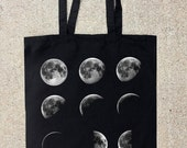 Black Cotton Canvas Tote Bag - Moon Phases