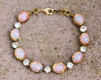 Vintage Fire Opal Bracelet,Pink Harlequin Opal & Rhinestone,Vintage Tennis Style Bracelet,Birthstone Jewelry,Glass Opal,Something Old,Unique