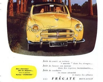 Original Vintage French Ad - Renault Automobile 1955 Renault Frégate Cars