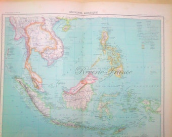 Antique Map of Asia  1890 Large map of Asian Islands 19th Century Map  Archipel Asiatique