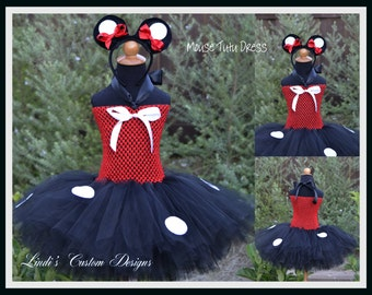 Mouse inspired Tutu Dress including Mouse Ears Headband for Birthdays, Pageants, Costume. Resort Vacations