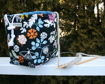 Sock Knitting Project Bag, Drawstring, Reversible with Flowers and Birds on Black