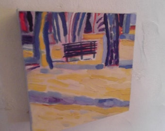 THE PARK BENCH, oil painting, home decor, ready to hang