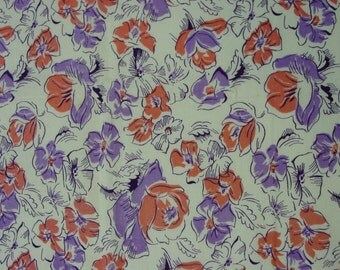 Nice Vintage Full Feedsack, Purple Floral, 36 1/2 x 48""