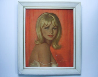 "Hard-To-Find ""Diane"" by artist Walter Lambert - 1960's Glazed Lithograph (Vivian Mansell co.)"