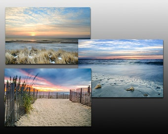 Seascape Print Sale, Sunrise at the Beach Collection, Set of Three Prints, Blue, beach theme, 30% Off Sale, Wall Art Gifts