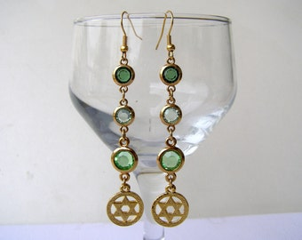 Star of David earrings. Drop and dangle  . Jewish  jewelry. Israel jewelry. Jewish star earrings. Green swarovski long chandelier earrings