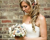 Brooch Bouquet vintage burlap and lace rustic wedding
