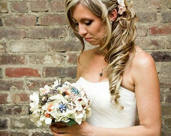 Brooch Bouquet vintage burlap and lace rustic wedding, Deposit only