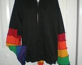 RAINBOW Elf Style zip front hooded sweatshirt / UNISEX adult small or medium / ladies medium or large