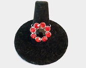 Daisy Ring-Red & Black Crystals-Bulldogs Buckeyes Tide Bulls Hawks Cardinals Heat Aggies Razorbacks Gamecocks Adjustable Band to Fit