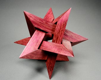 Wood 12 point Star sculpture, Purpleheart