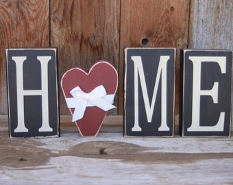 HOME blocks with a heart, home decor wooden lettering seasonal primitive vinyl lettering family