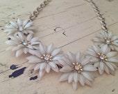 Celluloid necklace / white flower celluloid / auora borealisis flower necklace