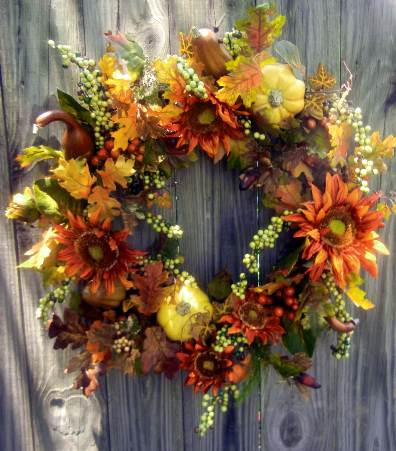 Fall Wreath For The Door Autumn Wreath Pumpkin By Forevermore1