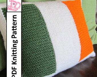 "PDF KNITTING PATTERN, Irish Flag knitting pattern, 12""x16"", Irish Flag pillow cover plus instructions for Belgium, France, Ireland, Italy"