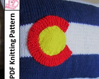 "Colorado Flag knitting pattern, PDF KNITTING PATTERN, 12""x16"" pillow cover, knitting pattern"