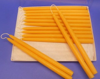 Dipped Beeswax Tapers, 14 Pair Of 1/2 x 10 Beeswax Taper Candles, Pure Beeswax Candles, Romantic Dinner and Table Candles