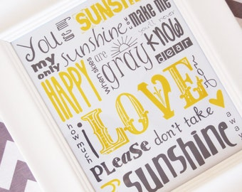 You Are My Sunshine Subway Art Print 11X14 Choose Your Color