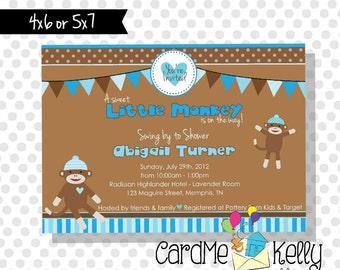 Printable Blue or Neutral Sock Monkey Modern Monkey Polkadot Stripes Baby Shower Invitation - Printable Digital File