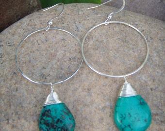 Hoop Dangle Earrings - Turquoise Silver Earrings - Turquoise Earrings - Hammered Hoop Earrings - December Birthstone