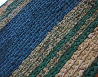 "Crocheted Rag Runner 57"" x 27"" Blue, Green, Beige"
