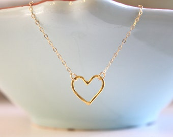 Heart Necklace, Gold Necklace, Gold Heart Necklace, Dainty Gold Necklace, Heart Jewelry, valentines day gift, birthday gift, mom, under 50