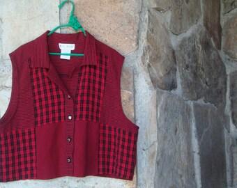 90s PLAID CROP TOP vintage sleeveless shirt tank grunge L