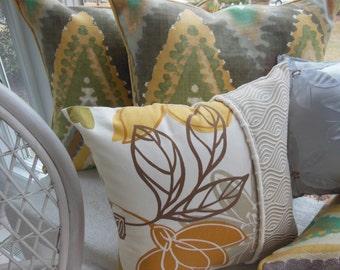 Designer Pillow - Ivory Pillow - Gold Pillow - Creme Pillow - Magnolia Decorative Reversible Pillow - 15 x 15 Inch - Ivory, Cream, Pearl