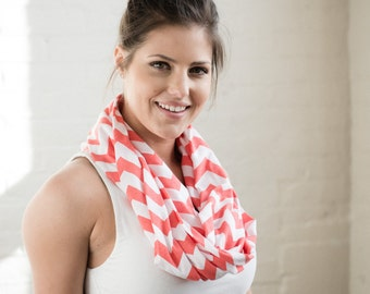 SALE - Coral Chevron Infinity Scarf