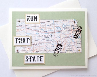 Kansas - Run (or RAN) That State or Enjoy Your Run Handmade Running Greeting Card - for Marathon, Half-Marathon, 10K, 5K Runners