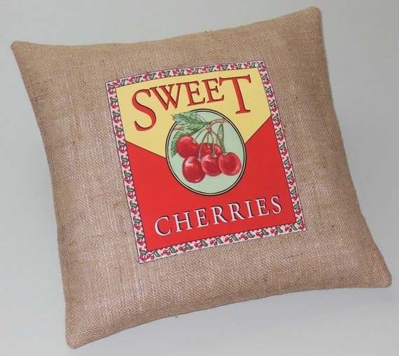 Vintage Decorative Throw Pillows : Items similar to Decorative Throw Pillows Burlap Vintage Label Cherries 18