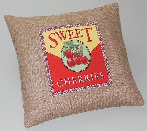 Burlap Throw Pillows Etsy : Items similar to Decorative Throw Pillows Burlap Vintage Label Cherries 18
