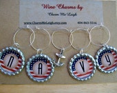 Navy inspired wine glass charms for the wine lover in your life.... customize