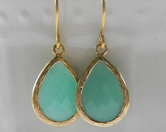 Mint Earrings - Aqua Dangle Earrings - Gold Wrapped Glass Teardrop - Bridesmaids Jewelry, Bridal Jewelry, Wedding Jewelry