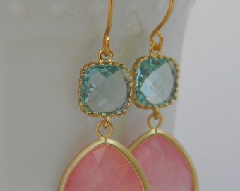 Peach and Aquamarine Dangle Earrings Trimmed in Gold Bride- Drop Earrings-Bridal-Wedding-Bridesmaid Gift