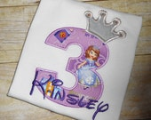 Design your own Birthday Number Princess Sofia character with crown and crystals applique t-shirt - Personalized free