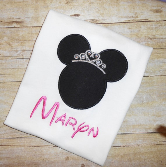 Princess Minnie Mouse applique t shirt with crystal accents - Personalized in Disney font your choice of colors