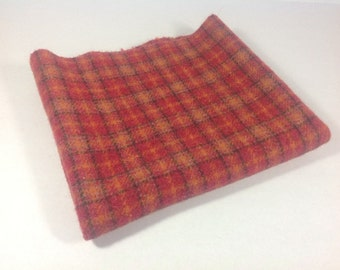 Wool Fabric for Rug Hooking and Applique, Fat Quarter yard, Poppy Red Plaid, J449