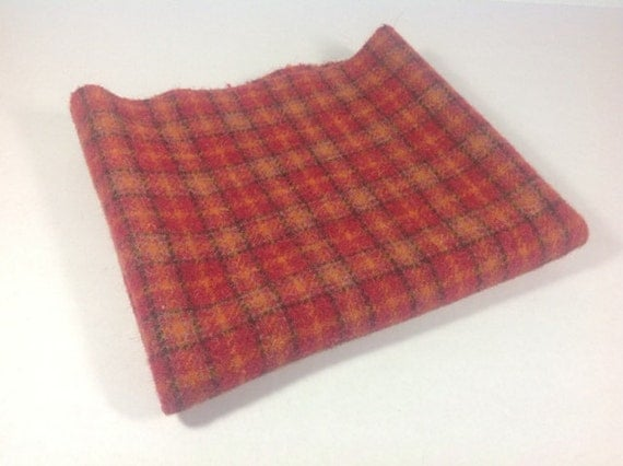 Poppy Red Plaid, Wool Fabric for Rug Hooking and Applique, Fat Quarter yard, J449