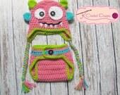 Crochet baby hat-Girl monster hat-monster-photo prop-newborn, baby-monster hat-colorful