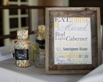 Wedding Reception Bar Menu Sign