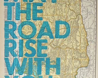 Washington /  May The Road Rise With You/ Letterpress Print on Antique Atlas Page