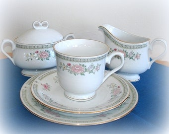 Vintage Dinnerware for One.  International Kensington Gardena Porcelain.  Single Service.  Plate, Cup, Saucer, Creamer, Lidded Sugar Bowl.