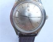 Vintage 70s Universal Geneve Watch Mechanical Mens Dress Swiss Stainless Steel Manual Wind Wrist Universal Geneve Signed Crown  Watch